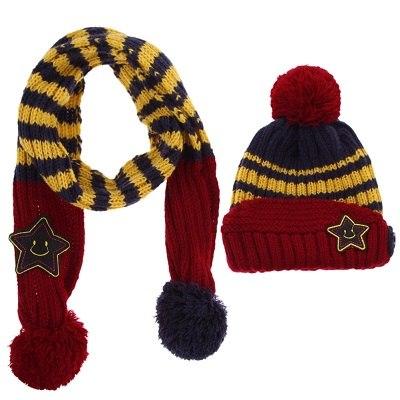 Baby muts en sjaal set wol gebreid rood en blauw