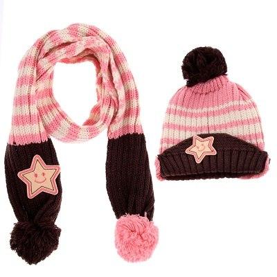 Baby set muts en sjaal wollig gebreid meisjes roze