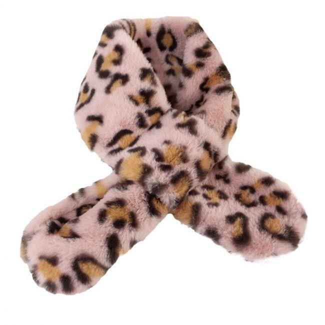Baby sjaal met luipaard print roze