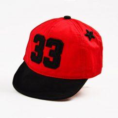 Stoere zwart met rode baseball pet 8-24 maanden