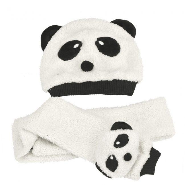 baby muts en sjaal pluche panda 3-24 maanden