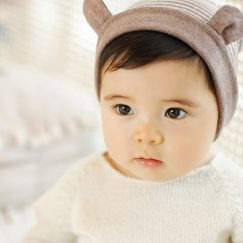 baby muts met oren gestreept 3-16 maanden