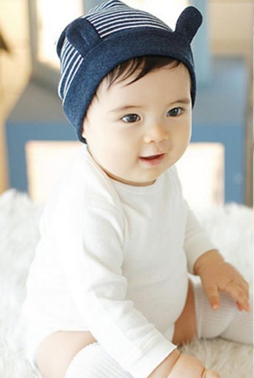 baby muts met oren gestreept 3-16 maanden donkerblauw