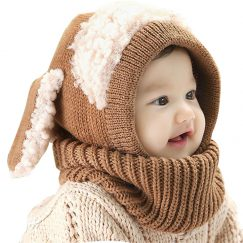baby muts met oren hoodie bruin 9-36 maanden