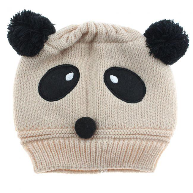 baby muts met oren panda beige