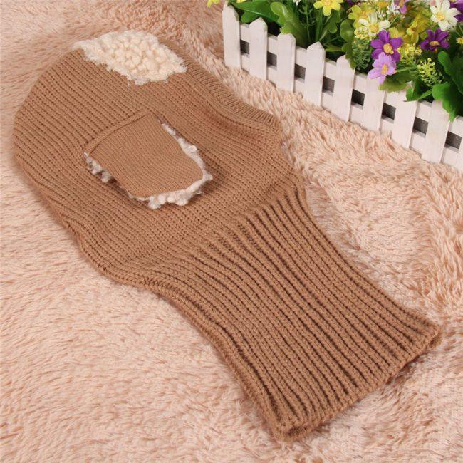 baby muts met sjaal col hoodie bruin 9-36 maanden