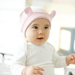 baby muts roze met oren gestreept 3-16 maanden