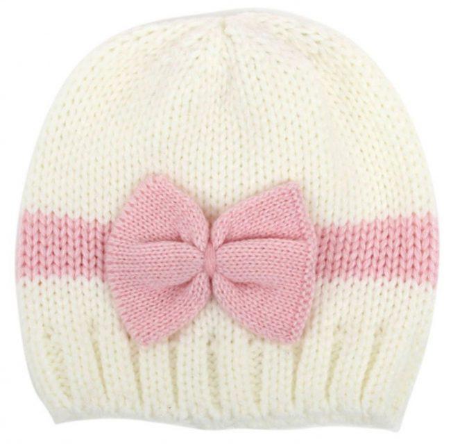 gebreide baby muts wit en roze met strik