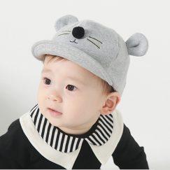 babypet met oren klittenband lichtgrijs 6 - 24 maanden