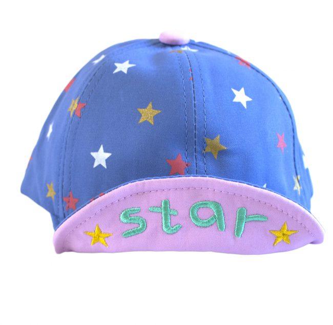 baby petje blauw roze met gekleurde sterren