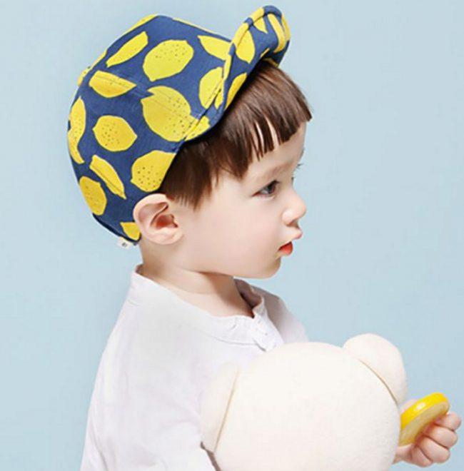 Grappig petje blauw met citroentjes | 43 - 52 CM