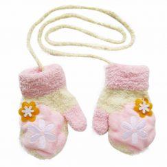 babywantjes roze met wit warm met piepjes en koord