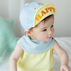 blauw gele babypet met kroontje 1-4 jaar