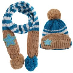 dreumes muts en dreumes sjaal set beige en blauw vanaf 1 jaar