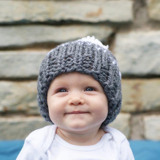 gebreide babymuts van wol grijs vanaf 3 maanden
