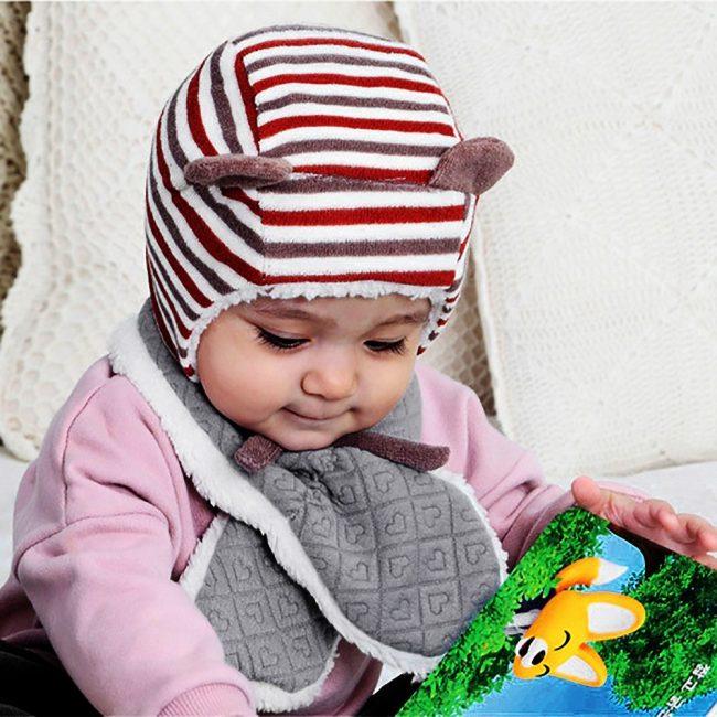 grijze warme baby sjaal 3-24 maanden