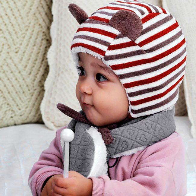 grijze warme sjaal baby meisje en jongen 3-24 maanden