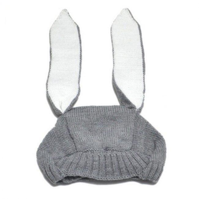 lieve babymutsje met konijnenoren grijs