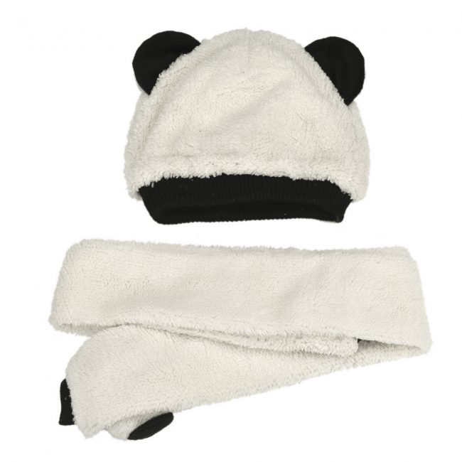 muts en sjaal voor baby pluche panda 3-24 maanden