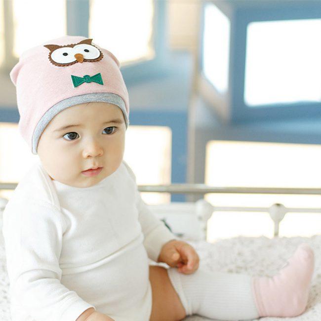 newborn baby muts roze uil vanaf 0 maanden