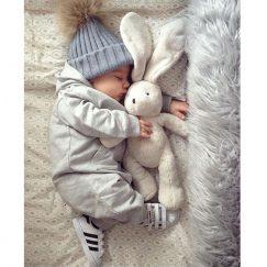 pasgeboren babymuts gebreid grijs vanaf 0 maanden