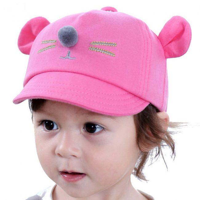 pet voor baby met oortjes en snuit roze