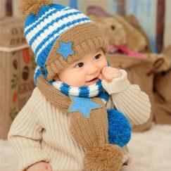 peuter muts en peuter sjaal set beige en blauw vanaf 1-4 jaar