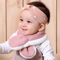 roze warme sjaal baby 3-24 maanden