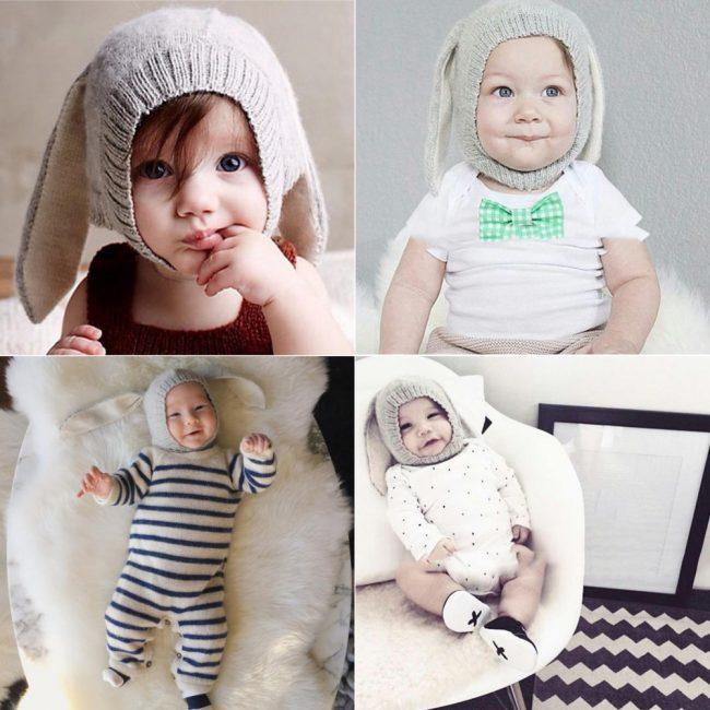 superschattige babymuts met konijnenoren grijs