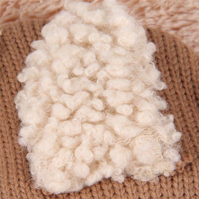 warme babymuts met col hoodie bruin 9-36 maanden