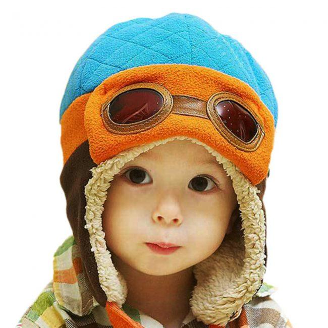 warme muts baby met voering blauw oranje