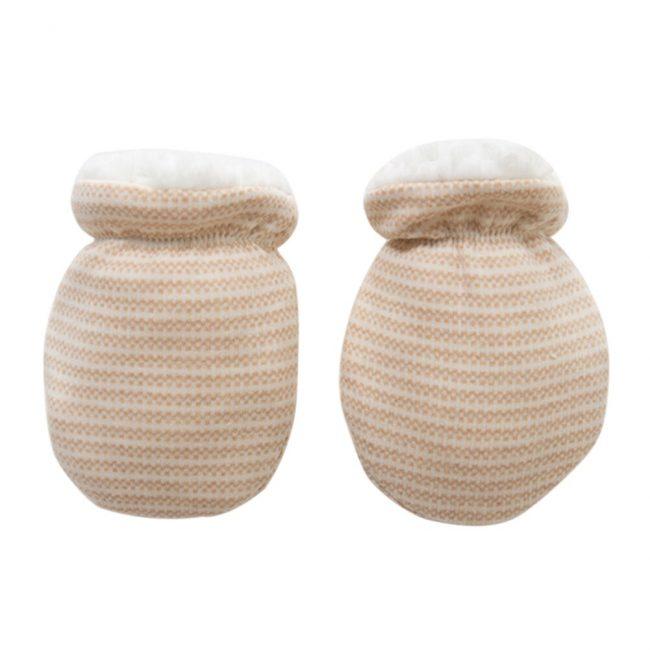 warme wollige newborn baby handschoenen vanaf 0 maanden creme motief