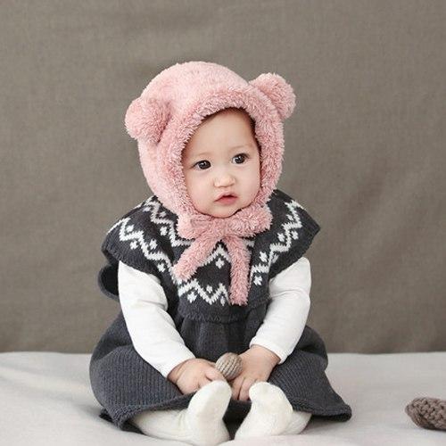 warme wollige schattige roze baby meisjes muts met oortjes vanaf 3 maanden