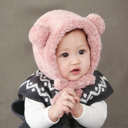 warme wollige schattige roze babymuts met oortjes vanaf 3 maanden
