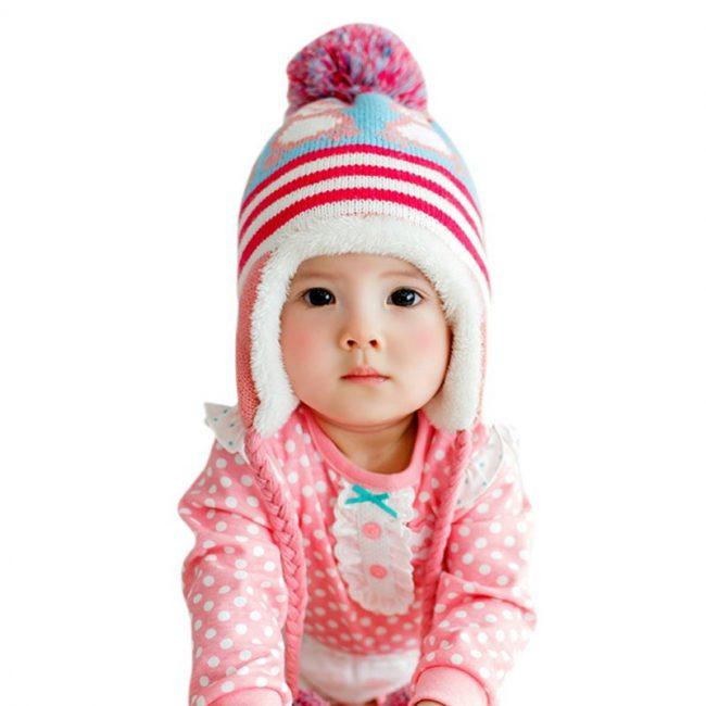 wintermuts baby met voering puinguin roze