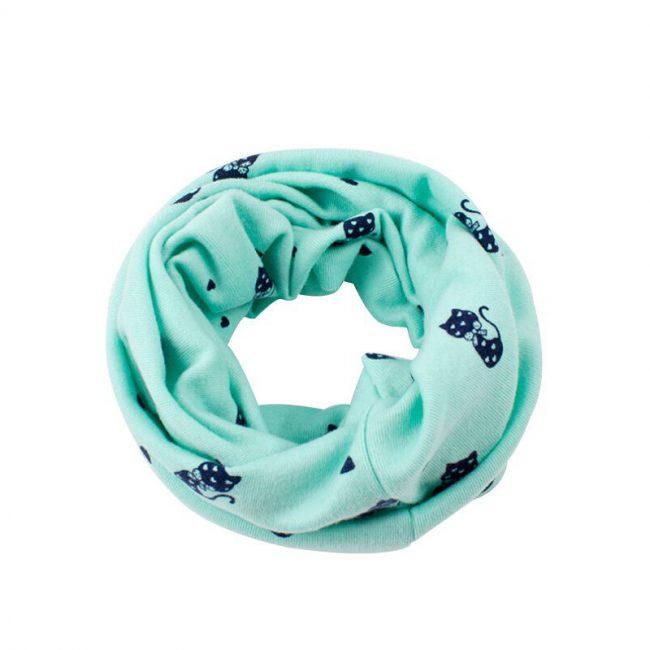 zachte sjaal peuter katoen mint groen met poezen